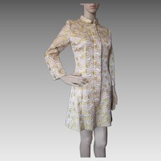 Mod 1960 Style Gold and Silver Brocade Mini Coat Dress