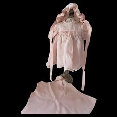 Three Piece Doll Outfit Slip Dress Bonnet Pretty in Pink