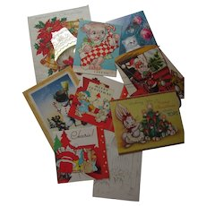 Vintage Christmas Cards Holiday Greetings Group of Nine Santa Snowman Fala Puppies 1940's+ Free Shipping