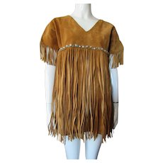 Ladies Deerskin Suede Tunic Fringed and Beaded 1960 Style