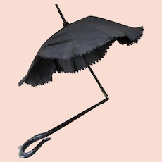 Victorian Edwardian Era Child or Doll Folding Umbrella Parasol in Black