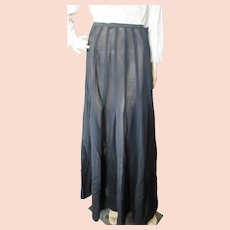 Victorian Edwardian Era Long Black Skirt with Applique Satin Ribbon