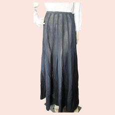 Victorian Edwardian Era Long Black Skirt with Applique Satin Ribbon