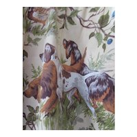 Handsome Drapery Panel Hunting Scene with Dogs and Birds