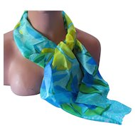 Liz Claiborne Ladies Long Scarf in Colors of the Sea Blue Green Yellow