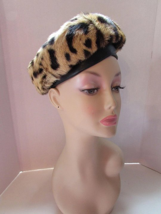 e3151dd62b4ff Mid Century Modified Beret in Faux Leopard Fur Marshall Field and Company
