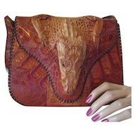Handsome Vintage Genuine Hornback Alligator Purse Saddle Bag Style 1940 Early 1950 Style
