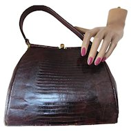 Handsome Brown Faux Alligator Handbag with Gold Tone Bar Frame