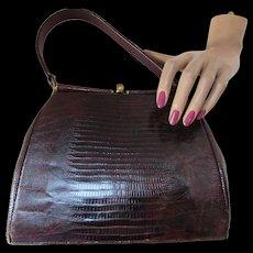 Handsome Brown Faux Alligator Handbag with Gold Tone Bar Frame