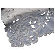 Pristine White Open Work Dresser Scarf or Table Runner  Vintage Linens