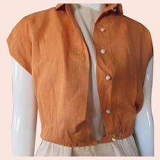 Mid Century Classic Style Short Jacket Burnt Orange Linen Claire McCardell Clothing by Townley