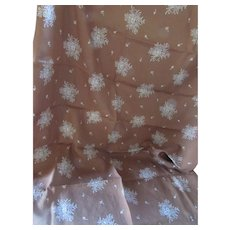 Length of Fabric Soft Cocoa with White Embroidered Flower Sprays One and Half Yards
