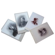 Four Victorian Lady Photograph Cabinet Cards from 1894 Mourning Dress Illinois and Missouri