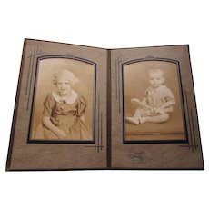 Photograph Portraits Deco Style Photo Mount Double Frame Children Sister and Brother in Sepia Tones Free Shipping USA