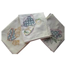 Pair Large Embroidered Kitchen Towels Tea Cups Tea Pot