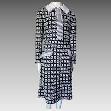 1970 Era Pop Art Knit Coat Dress in Black and White Joan Leslie by Kasper Size Small/Medium