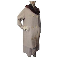 Handsome Mid Century Suit Coat with Fur Collar and Skirt Nubby Beige Hokanum Kurlova Fabric J P Stevens & Co Cunningham's St Louis