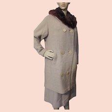 Handsome Mid Century Suit Coat with Fur Collar and Skirt Nubby Beige Hokanum Kurlova Fabric J P Stevens & Co Cunningham's St Louis