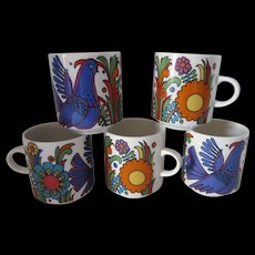 Villeroy and Boch Acapulco Porcelain Coffee Mugs Set of Five