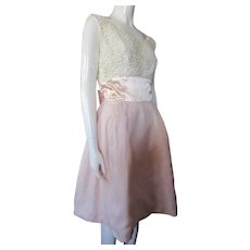 Sweet 1960 Era Dress Prom or Garden Party Pink & White Lace