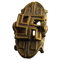 Victorian or Edwardian Era Hat Pin with Swastika Good Luck Sign