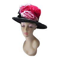 Fabulous High Crown Black Hat with Huge Pink Red Roses
