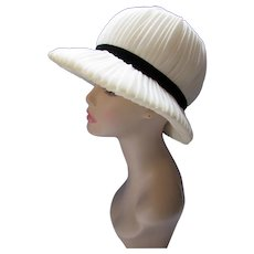 Bucket Style Hat Cream Pleated Organdy Black Trim Marshall Field The French Room