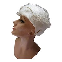 1960 Style Bubble Hat White Angled Panels Marshall Fields