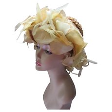 Straw Hat HIgh Crown Festive Butter Yellow Organdy Flowers