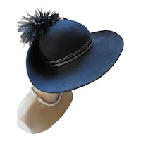 Black Wool Felt Wide Brim Hat Mr. John Classic