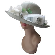 Stylish Wide Brim Straw Hat in Mint Green Shimmer of Gray Blossoms Betmar