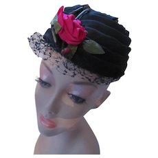 Mid Century Formal Hat in Black Organdy Swirls Red Velvet Rose Louise Chapeaux
