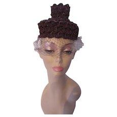 Highly Unusual Topper Hat in Brown Gimp Roberta Bernays