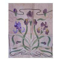 Art Nouveau Purple Iris Needlework Project Unfinished Brainerd & Armstrong Floss