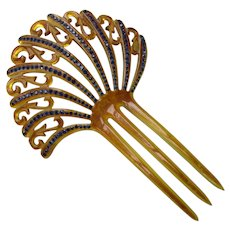 Vintage Decorative Hair Comb in Honey Tone Celluloid with Swirls of Cobalt Blue Rhinestones