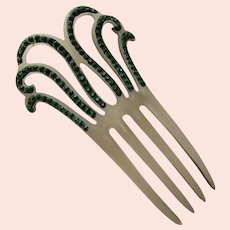Deco Style Hair Comb Emerald Green Fern Tendrils on Opaque Celluloid