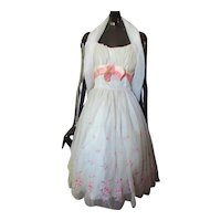 1961 Prom Dance Dress White Chiffon Pink Embroidery May Festival West High School