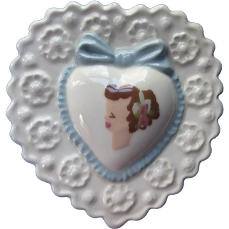 Clemson's Sweet Ceramic Wall Pocket Young Girl Portrait Hand Painted