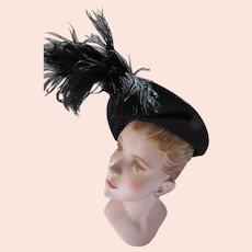 Black Fur Felt Flat Hat with Soaring Black Feather