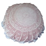 Romantic Pillow Lace and White on White Embroidery Round Shape