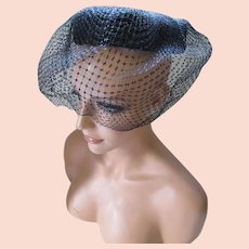 Whimsy Circle Hat in Black Weave and Nose Length Split Veil Ruth McCulloch