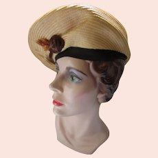 Mid Century Beret Style Hat in Butter Straw Velvet Rosette Charming Lady