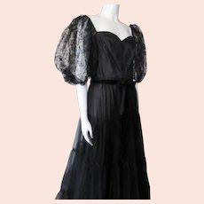 Fantastic Vera Mont Long Gown Black Lace & Satin West Germany