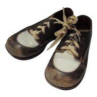 Mid Century Child's Saddle Shoes Brown & White Edwards Brand
