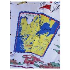 Souvenir of Norway Head or Neck Scarf Bright Primary Colors