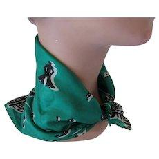 Jaunty Head Neck or Ponytail Scarf Nautical Theme Black Green