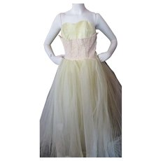 1950 Style Prom Dress in Yellow Layers of Lace and Tulle Size XS