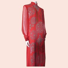 Shaheen Long Gown Asian Influence Flocked Cherry Red