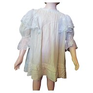 Lovely Child or Large Doll Lace and Tissue Dress White with Blue Ribbons Edwardian Era