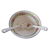 Hotoven Harker Pottery Cookingware Mixing Bowl Matching Fork and Spoon Needlepoint Petit Point Sampler Cross Stitch Pattern